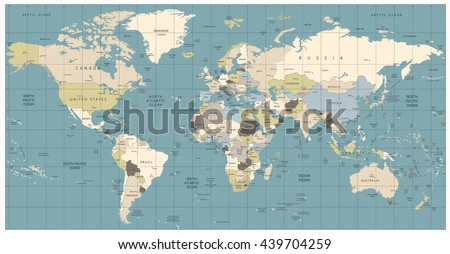World Map old colors illustration: countries, cities, water objects. All elements are separated in editable layers clearly labeled. - stock vector