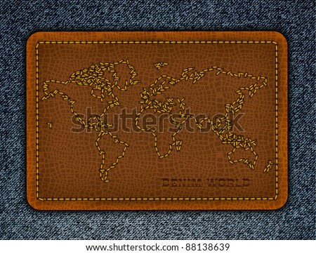 World map on a leather label. Realistic vector denim background. - stock vector