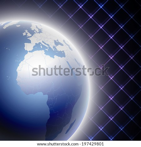 World map on Abstract neon light background vector illustration - stock vector