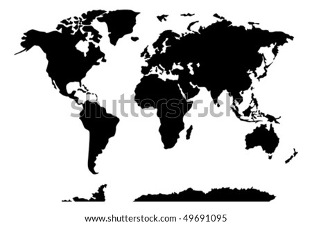 world map on black and white showing all countries and continents of the globe - stock vector