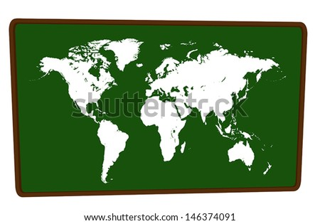 World Map on blackboard isolated illustration - stock vector