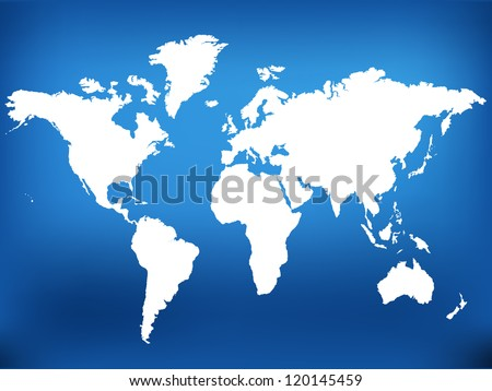 World map on blue background, EPS10 - stock vector