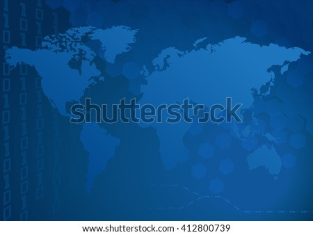 """World map on Blue digital style background.  Map generated using open-source free data obtained from """"Natural Earth""""  - stock vector"""