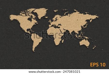 World map on cardboard  texture,paper design.vector illustration  - stock vector