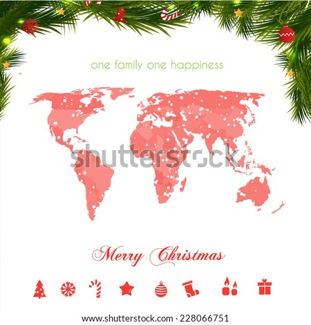 World map on christmas background with xmas icons.  - stock vector