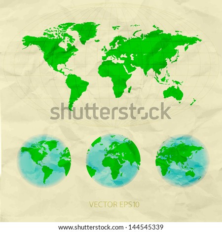world map on crumpled paper - stock vector