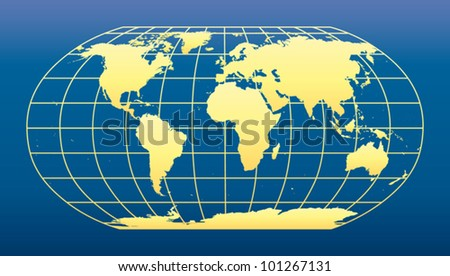 World Map on dark blue background. - stock vector