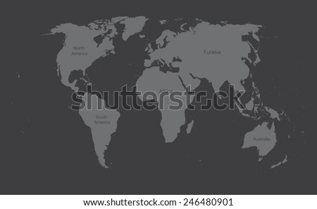 world map on dark gray background - stock vector