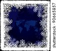 World map on frozen window - stock vector