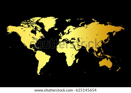 World map on gold black background stock vector 625145654 shutterstock world map on gold black background gumiabroncs Images