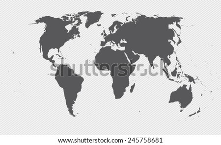 world map on gray background - stock vector