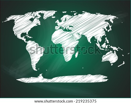 World map on green blackboard - stock vector