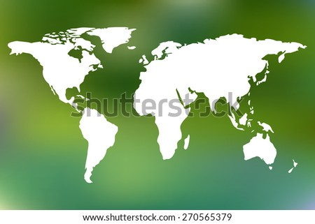 World map on green blurred background. Vector illustration. Elements of this image furnished by NASA. - stock vector