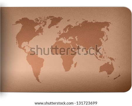 World map on leather texture background. Vector illustration - stock vector