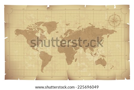 World map on old paper. Eps8. CMYK. Organized by layers. Global colors. Gradients used. - stock vector