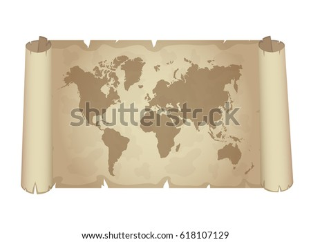 World map on papyrus design. Vector.