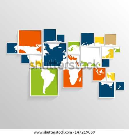 World map on squares / colorful vector illustration EPS10 - stock vector