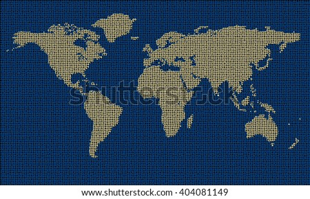 World map on textile