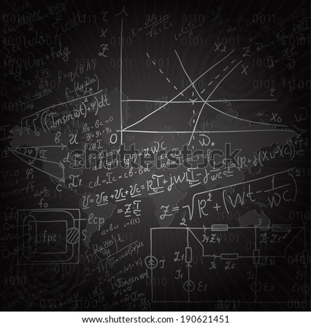 World map on the background of mathematical equations and formulas - illustration - stock vector