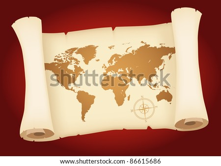 World map on the old parchment - stock vector