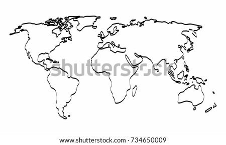 World Map Outline Background Stock Illustration - World map drawing outline