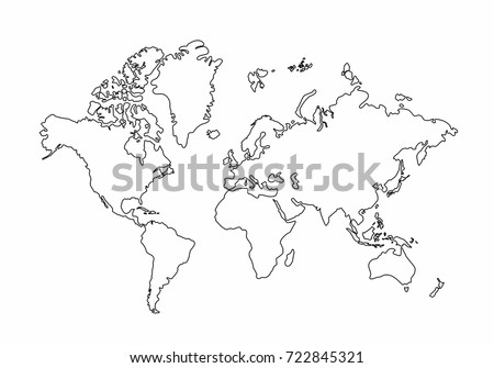 World map outline graphic freehand drawing stock vector 722845321 world map outline graphic freehand drawing on white background vector of asia europe gumiabroncs Gallery
