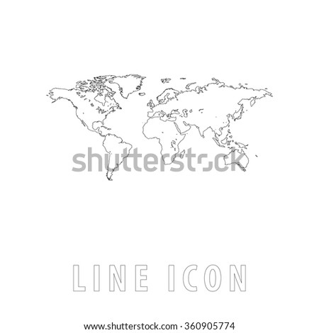 world map outline simple vector icon on white background line pictogram with text