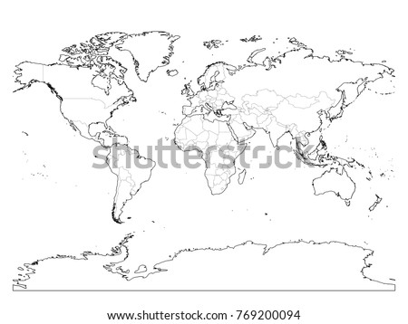 World Map Outline. Thin Country Borders And Thick Land Contour On White  Background. Simple