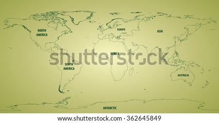 Plate Tectonics World Map Major Minor Stock Vector - World map outline continents