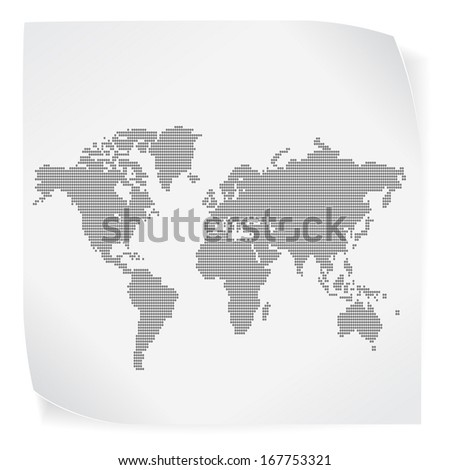 World map over white paper sticker isolated on white. Vector EPS10. - stock vector