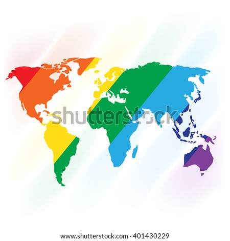World map painted with rainbow colors. Vector illustration for your graphic design. - stock vector