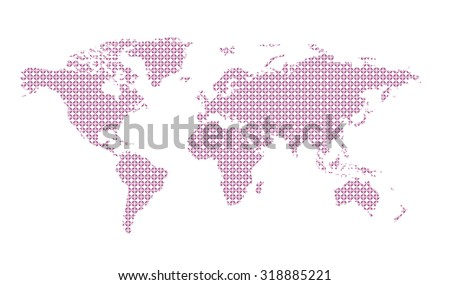 World map pattern background. Easy to change colors. - stock vector