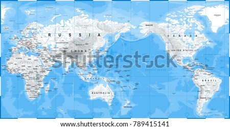World map physical white asia center stock vector 789415141 world map physical white asia in center china korea japan vector gumiabroncs Images