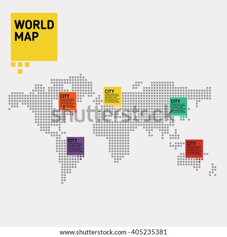 World map. Pixel style. - stock vector