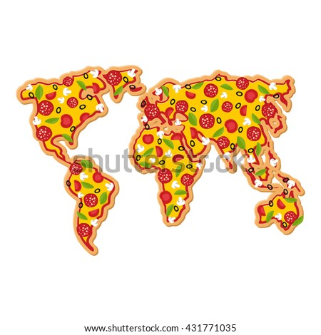 World Map pizza. Continents of planet earth fast food. Geography National Italian food. Petite geographical map of world