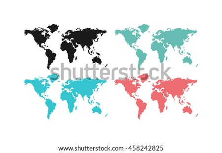 World map planet and global continents