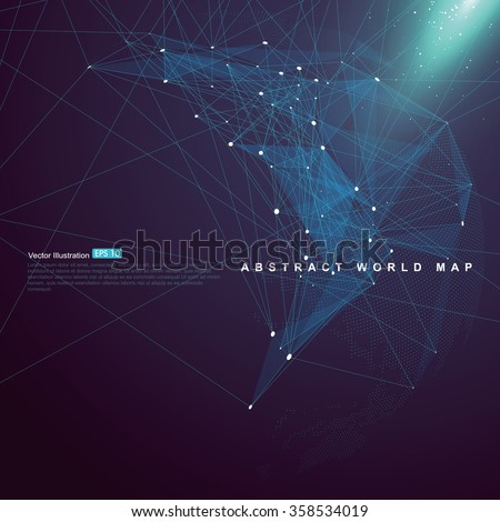 World map point, line, surface composition, representing the global,  Global network connection,international meaning. - stock vector