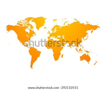 World Map political orange on an isolated background. Vector illustration EPS-10  - stock vector