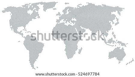 World map radial dot pattern gray stock vector royalty free world map radial dot pattern gray dots going from the center outwards and form the gumiabroncs Gallery