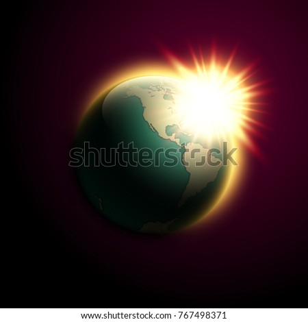 World map rising sun banner globe vector de stock767498371 shutterstock world map rising sun banner globe icon in space sunlight poster planet earth on gumiabroncs Image collections