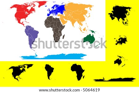 World Map showing the 7 continents - stock vector