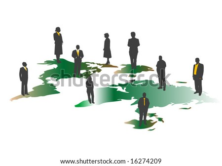 World map silhouette isolated on white and people