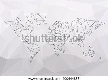 World map simple connection polygon. Vector illustration  - stock vector