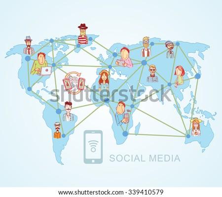 World Map,Social Media Communication Internet Network Doodle, Vector Illustration. - stock vector