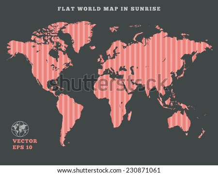 World map. Striped rose map silhouette on dark gray background. Sunrise theme design. Vector isolated. 10eps - stock vector