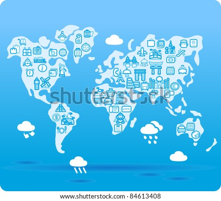 world map symbol made from small travel,landmark icons - stock vector