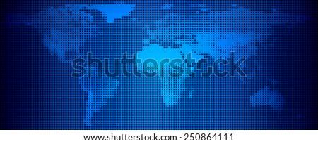 World map technology-style. Vector illustration. - stock vector