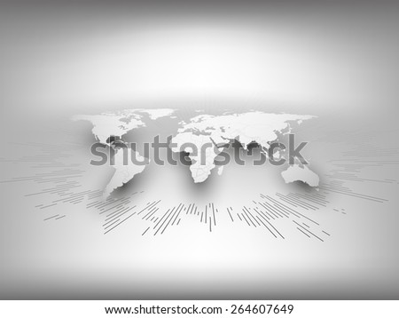 World map template in perspective on gray background for business or website design. - stock vector