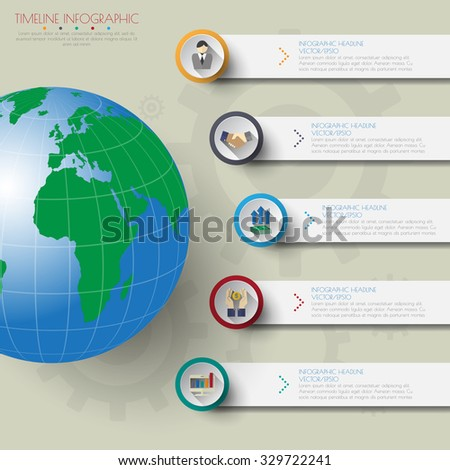 world map timeline infographics with icons set. - stock vector