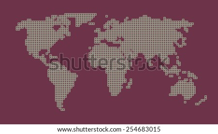 World map - unusual pattern line design green magenta hand drawn - stock vector